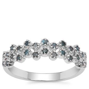 Blue Diamond Ring in Sterling Silver 0.41ct