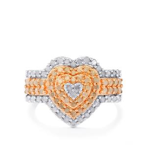 Diamond Ring in Two Tone Gold Plated Sterling Silver 1cts