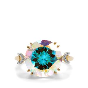 Mercury Mystic Topaz & Diamond 10K Gold Ring ATGW 9.65cts