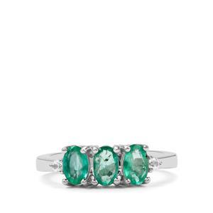 Itabira Emerald & White Zircon Sterling Silver Ring ATGW 1.26cts