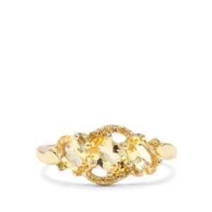 Merelani Danburite & Yellow Diamond 9K Gold Ring ATGW 1.23cts