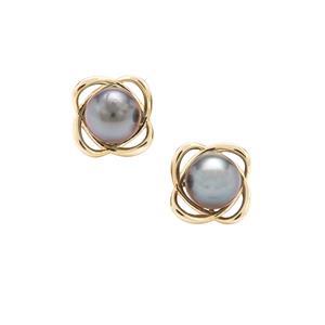 Tahitian Cultured Pearl 9K Gold Earrings (8mm)