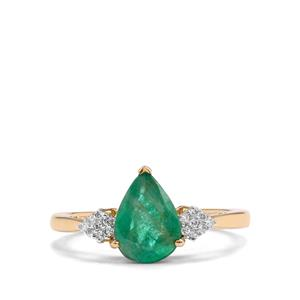 Zambian Emerald Ring with Diamond in 14K Gold 1.43cts