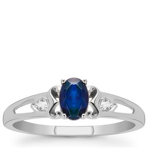 Ethiopian Midnight Opal Ring with White Topaz in Sterling Silver 0.30ct