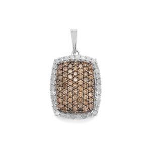 1ct Champagne & White Diamond Sterling Silver Pendant