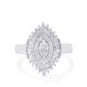 Diamond Ring  in 10k White Gold 0.77ct