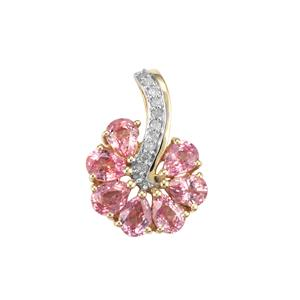 Sakaraha Pink Sapphire & Diamond 9K Gold Pendant ATGW 1.34cts