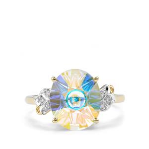 Lehrer QuasarCut Mercury Mystic Topaz Ring with Diamond in 10K Gold 4.64cts