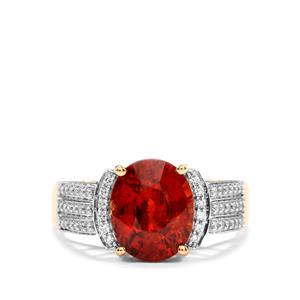 Mandarin Garnet & Diamond 18K Gold Lorique Ring MTGW 4.22cts