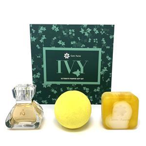 Ivy Ultimate Pamper set – 30ml Eau  De Parfum with Citrine, Cleansing Bar and Bath Fizz Set