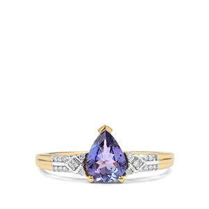 Tanzanite Ring with Diamond in 10k Gold 1.02cts