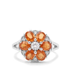 Mandarin Garnet & White Zircon Sterling Silver Ring ATGW 3.51cts