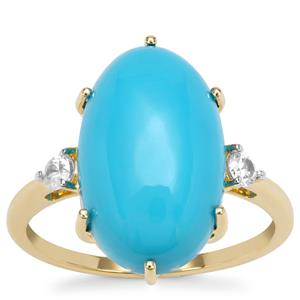 Sleeping Beauty Turquoise Ring with White Zircon in 9k Gold 6.70cts