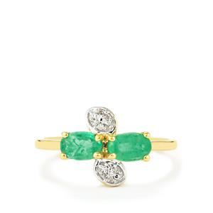 Zambian Emerald & Diamond 9K Gold Ring ATGW 0.87cts