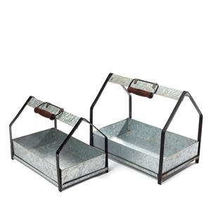 Set of 2  'Aged Look' Window Box Planters with Handles /  Home Decoration / Herb Garden