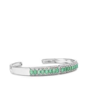 Carnaiba Brazilian Emerald & White Topaz Sterling Silver Cuffs ATGW 3.69cts