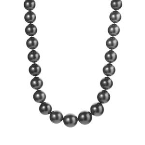 Tahitian Cultured Pearl Graduated Necklace in Sterling Silver