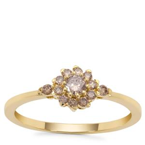 Champagne Diamond Ring in 9K Gold 0.34ct