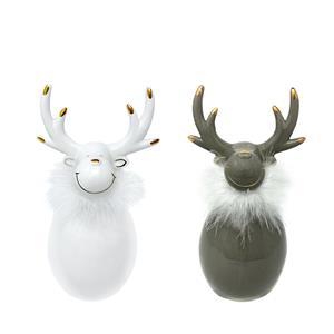 Ceramic Elk Christmas Decoration - Medium - Choice of White or Grey