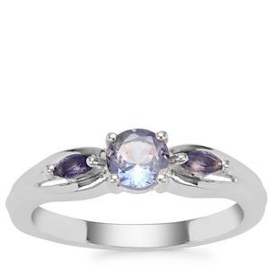 Bi Colour Tanzanite Ring with Iolite in Sterling Silver 0.69ct
