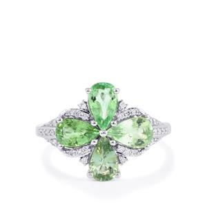 Paraiba Tourmaline Ring with Diamond in 18k White Gold 2cts