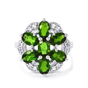 Chrome Diopside & White Topaz Sterling Silver Ring ATGW 3.28cts