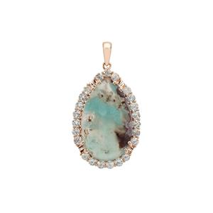 Patterned Aquaprase™ Pendant with Aquaiba™ Beryl in 9K Rose Gold 15.80cts