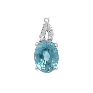 Ratanakiri Blue Zircon Pendant with Diamond in 9K White Gold 2.62cts