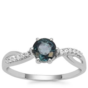 Nigerian Blue Sapphire Ring with White Zircon in 9K White Gold 1.10cts