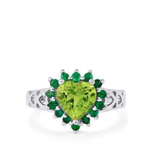 Changbai Peridot & Zambian Emerald Sterling Silver Ring ATGW 2.34cts