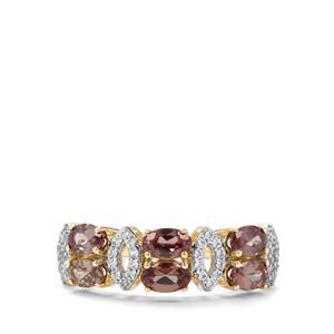Miova Loko Garnet & White Zircon 9K Gold Ring ATGW 2.06cts