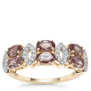 Miova Loko Garnet Ring with White Zircon in 9K Gold 2.06cts