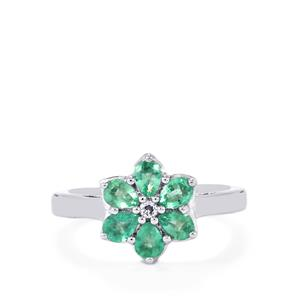 Zambian Emerald & White Topaz Sterling Silver Ring ATGW 0.81cts