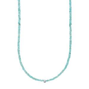 Sky Blue Apatite Bead Necklace with Silver Ball 75cts