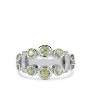 Ambanja Demantoid Garnet & White Zircon Sterling Silver Ring ATGW 1.38cts