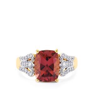 Zanzibar Zircon & Diamond 18K Gold Tomas Rae Ring MTGW 4.93cts