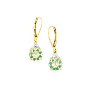 Lehrer KaleidosCut Prasiolite, Zambian Emerald & Diamond 10K Gold Earrings ATGW 3.21cts
