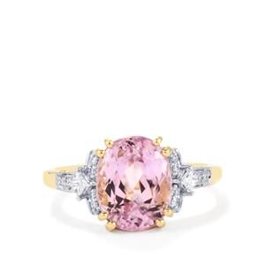 Mawi Kunzite Ring with Diamond in 18K Gold 4.89cts