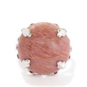 Pink Quartz Ring with Rhodolite Garnet in Sterling Silver 16.88cts
