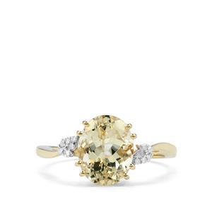 Serenite & Diamond 9K Gold Ring ATGW 2.43cts