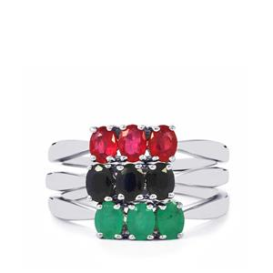 Carnaiba Brazilian Emerald, Malagasy Ruby Set of 3 Rings with Thai Sapphire in Sterling Silver 1.62cts (F)