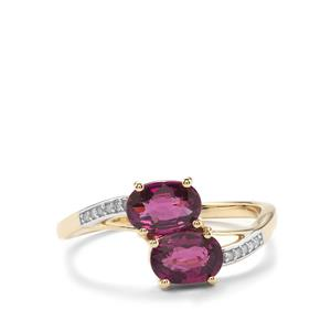 Comeria Garnet & Diamond 9K Gold Ring ATGW 1.72cts