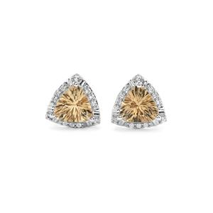 Champagne Quartz Cufflinks with White Topaz in Sterling Silver 2.08cts