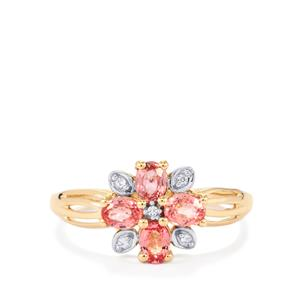 Sakaraha Pink Sapphire Ring with White Zircon in 10K Gold 0.88ct