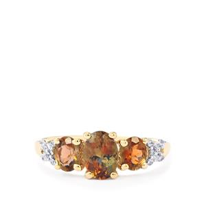 Gouveia Andalusite Ring with White Zircon in 10k Gold 1.50cts