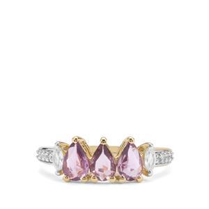 Rose Cut Purple Sapphire & White Zircon 9K Gold Ring ATGW 1.26cts