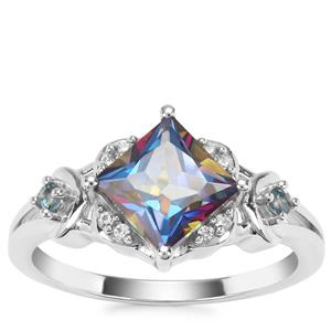 Mystic Blue, Marambaia London Blue Topaz Ring with White Zircon in Sterling Silver 2.24cts