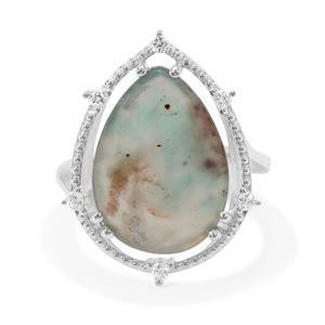 Aquaprase™ & White Zircon Sterling Silver Ring ATGW 8.11cts