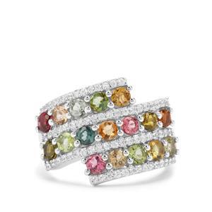 Rainbow Tourmaline & White Zircon Platinum Plated Sterling Silver Ring ATGW 2.68cts