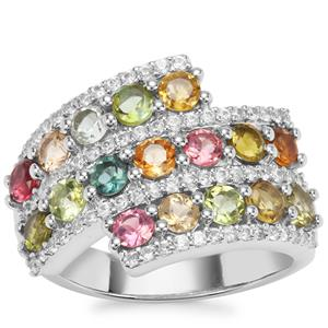 Rainbow Tourmaline Ring with White Zircon in Platinum Plated Sterling Silver 2.68cts